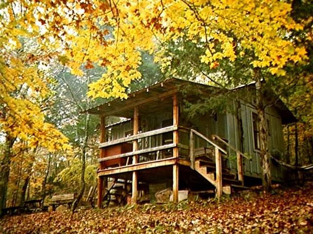 view of Line Camp Cabin in the fall