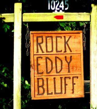 Rock Eddy Bluff sign