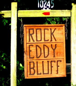 Rock Eddy Bluff sign