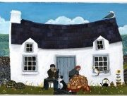artwork of house with lady and man in front