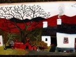 artwork of house with quilts on line