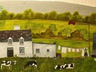 artwork of house with cows in front and clothes on line
