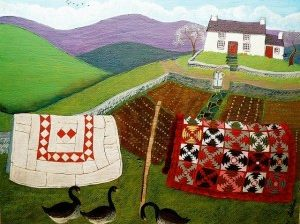 artwork of house and quilts on line, ducks in front