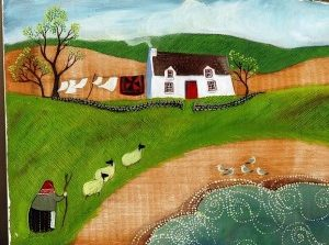 artwork of house, person and sheep