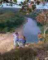 people near river