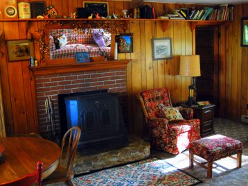 Turkey Ridge Cabin with fireplace, chairs for relaxing, table and chairs for eating